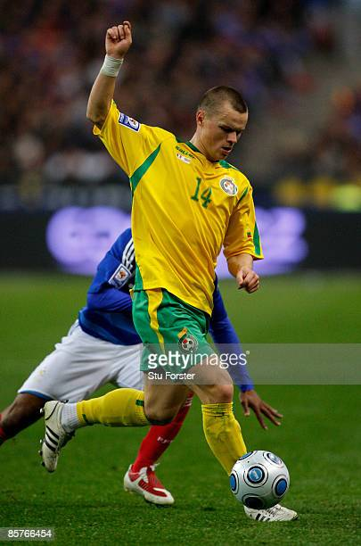 Lithuania player Darvydas Sernas in action during the group 7 FIFA2010 World Cup Qualifier between France and Lithuania at Saint Denis Stade de...