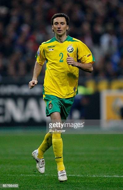 Lithuania player Deividas Semberas in action during the group 7 FIFA2010 World Cup Qualifier between France and Lithuania at Saint Denis Stade de...