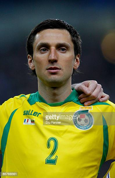 Lithuania player Deividas Semberas looks on before the group 7 FIFA2010 World Cup Qualifier between France and Lithuania at Saint Denis Stade de...
