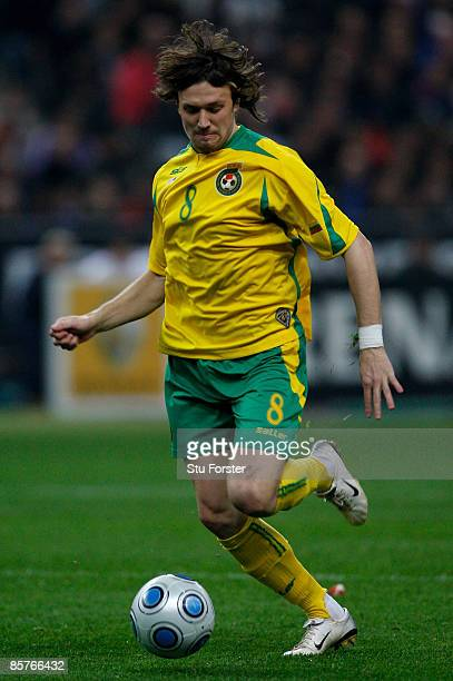 Lithuania player Edgaras Cesnauskis in action during the group 7 FIFA2010 World Cup Qualifier between France and Lithuania at Saint Denis Stade de...