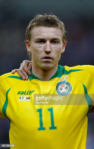 Lithuania player Linas Pilibaitis looks on before the group 7 FIFA2010 World Cup Qualifier between France and Lithuania at Saint Denis Stade de...