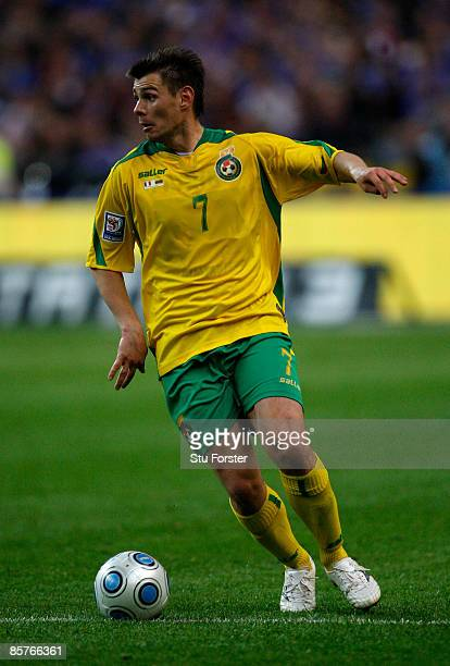 Lithuania player Mantas Savenas in action during the group 7 FIFA2010 World Cup Qualifier between France and Lithuania at Saint Denis Stade de France...