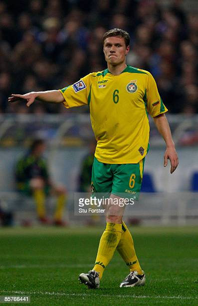 Lithuania player Marius Zaliukas in action during the group 7 FIFA2010 World Cup Qualifier between France and Lithuania at Saint Denis Stade de...