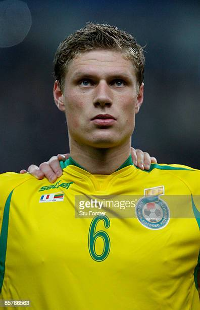 Lithuania player Marius Zaliukas in looks on before the group 7 FIFA2010 World Cup Qualifier between France and Lithuania at Saint Denis Stade de...