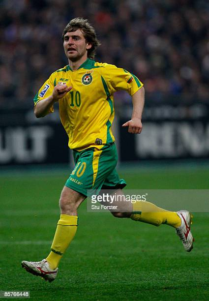 Lithuania player Mindaugas Kalonas in action during the group 7 FIFA2010 World Cup Qualifier between France and Lithuania at Saint Denis Stade de...