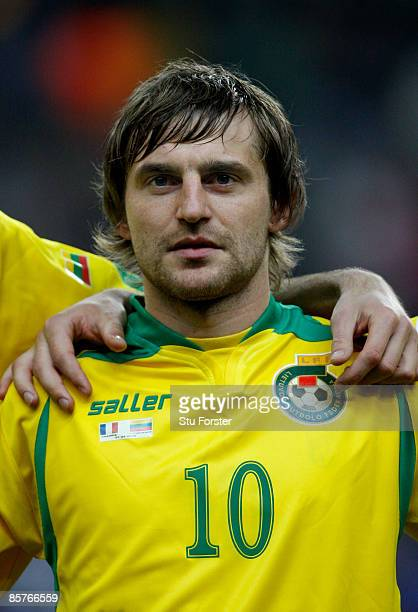 Lithuania player Mindaugas Kalonas looks on before the group 7 FIFA2010 World Cup Qualifier between France and Lithuania at Saint Denis Stade de...