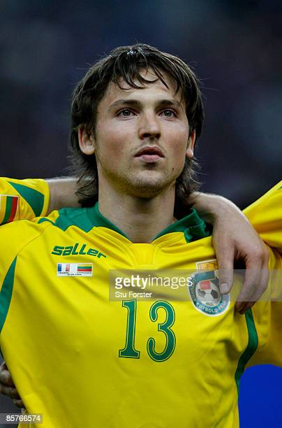 Lithuania player Saulius Mikoliunas looks on before the group 7 FIFA2010 World Cup Qualifier between France and Lithuania at Saint Denis Stade de...