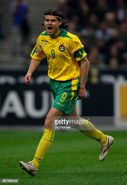 Lithuania player Tomas Danilevicius in action during the group 7 FIFA2010 World Cup Qualifier between France and Lithuania at Saint Denis Stade de...