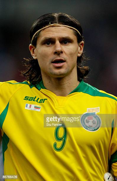 Lithuania player Tomas Danilevicius looks on before the group 7 FIFA2010 World Cup Qualifier between France and Lithuania at Saint Denis Stade de...