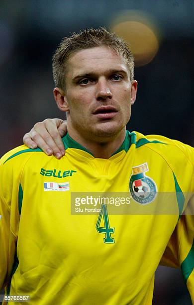 Lithuania player Vidas Alunderis in looks on before the group 7 FIFA2010 World Cup Qualifier between France and Lithuania at Saint Denis Stade de...