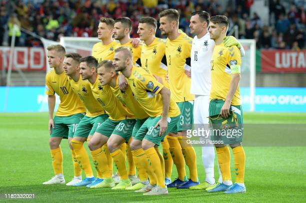 Lithuania pose for the cameras prior to kickoff during the UEFA Euro 2020 Qualifier match between Portugal and Lithuania at Algarve Stadium on...
