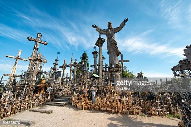 lithuania, siauliai, hill of crosses - lithuania stock pictures, royalty-free photos & images