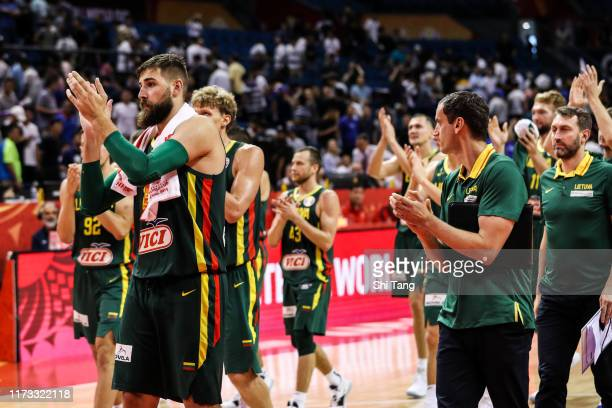 Lithuania team greet the audience after the match during 2nd round Group L match between Dominican Republic and Lithuania of 2019 FIBA World Cup at...