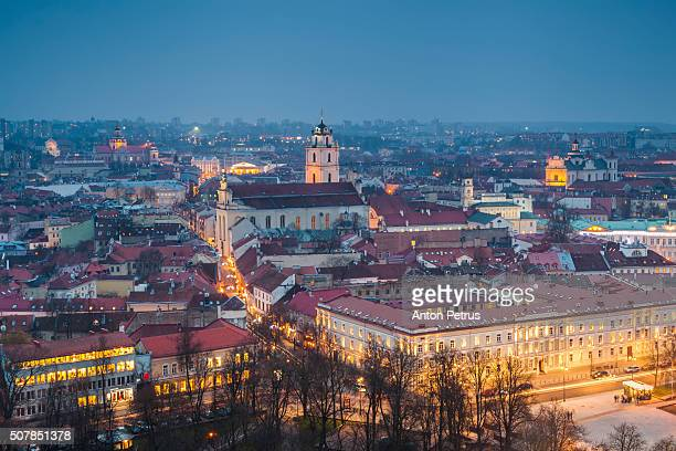 Lithuania, Vilnius, historical center at night