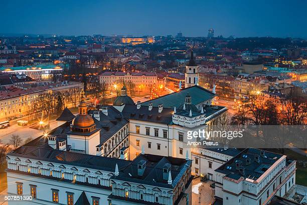lithuania, vilnius, historical center at night - lithuania stock pictures, royalty-free photos & images