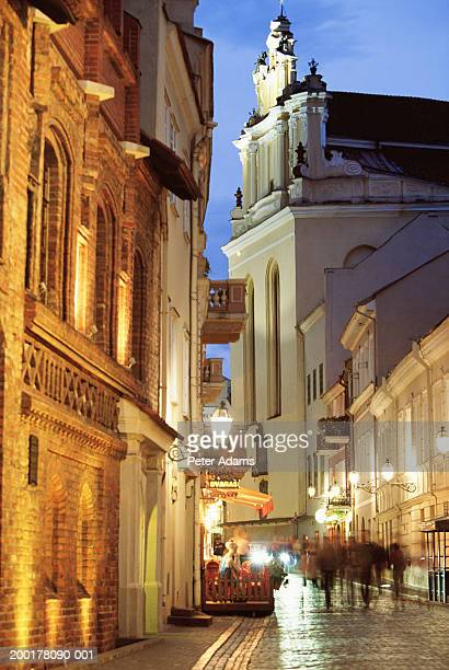 lithuania, vilnius, street in old town, night - travel14 stock pictures, royalty-free photos & images