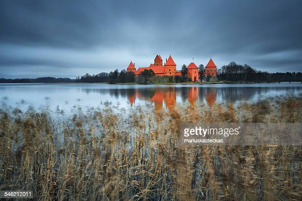 Lithuania, Vilnius, Trakai, Castle by lake