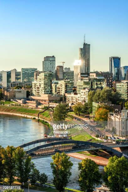 Lithuania, Vilnius, view to the modern city of Vilnius with Europa Tower and Neris River in the foreground