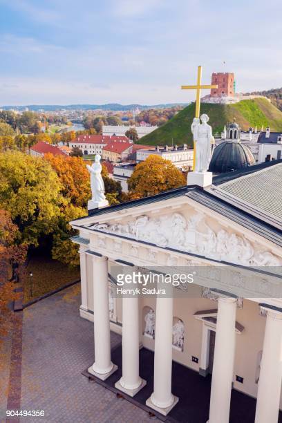 Lithuania, Vilnius, Vilnius cathedral and cityscape in background