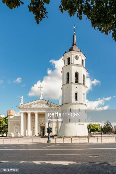 Lithuania, Vilnius, Vilnius Cathedral with bell tower in the foreground