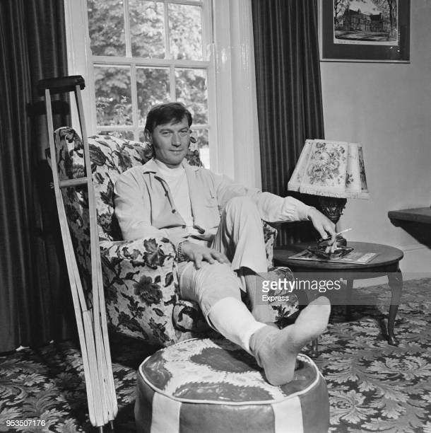 Lithuanian actor Laurence Harvey resting at his house after breaking his leg during rehearsals UK 3rd July 1970