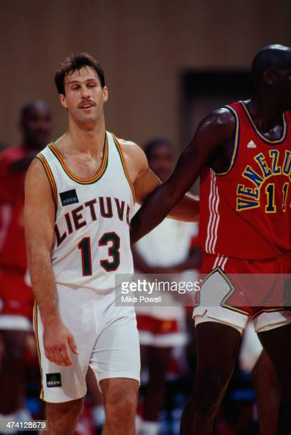 Lithuanian basketball player Sarunas Marciulionis playing for his national side against Venezuela at the Pavello Olimpic de Badalona during the...