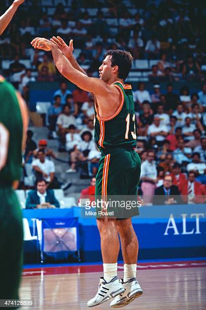 Lithuanian basketball player Sarunas Marciulionis playing for his national side against China at the Pavello Olimpic de Badalona during the Olympic...