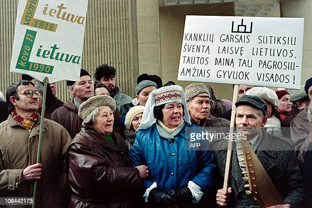 Lithuanian celebrate in Vilnius on March 11 1990 as the newly elected Parliament voted unanimously to change the name of the Soviet Baltic State to...