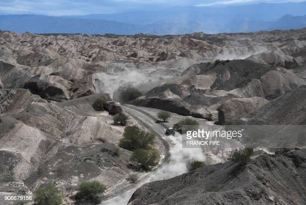 TOPSHOT Lithuanian driver Antanas Juknevicius and his codriver Darius Vaiciulis compete during Stage 12 of the 2018 Dakar Rally between Chilecito and...