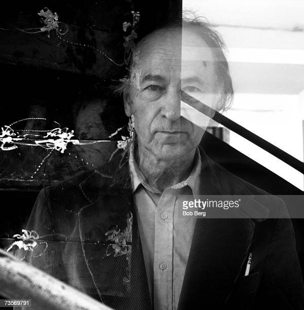 Lithuanian filmaker Jonas Mekas founder and curator of the Anthology Film Archives poses for a March 1990 portrait in the Anthology cinema room in...