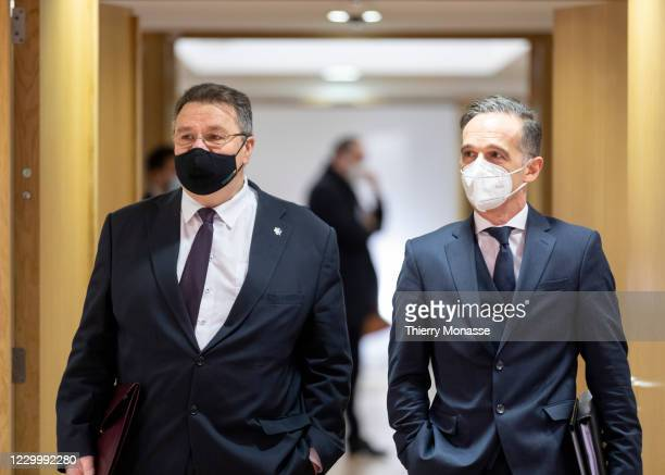 Lithuanian Minister of Foreign Affairs Linas Antanas Linkevicius and the German Minister of Foreign Affairs Heiko Maas arrive for an EU Foreign...