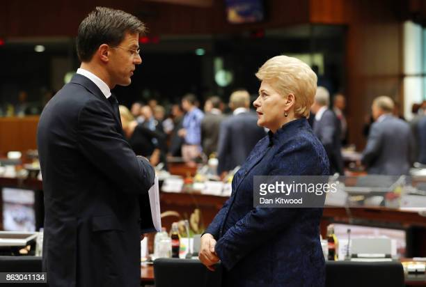 Lithuanian President Dalia Grybauskaite and Dutch Prime Minister Mark Rutte speak ahead of a round table meeting on October 19 2017 in Brussels...