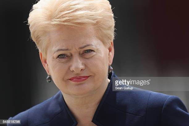 Lithuanian President Dalia Grybauskaite arrives for the Warsaw NATO Summit on July 8 2016 in Warsaw Poland NATO member heads of state foreign...