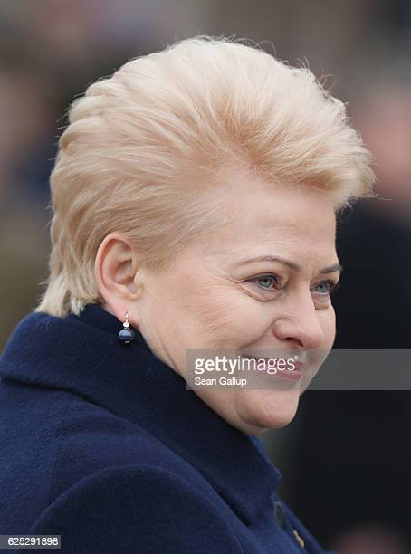 Lithuanian President Dalia Grybauskaite arrives to speak at a parade of soldiers participating in the Iron Sword multinational military exercises on...