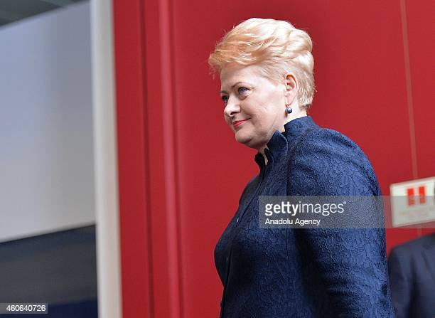 Lithuanian President Dalia Grybauskaite attends the European Council meeting at the European Council headquarters in Brussels, Belgium on December...