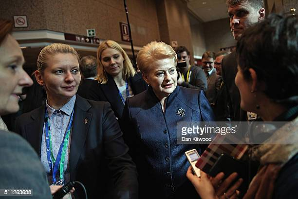 Lithuanian President Dalia Grybauskaite conducts interviews during the second day of the EU Summit as British Prime Minister David Cameron continues...