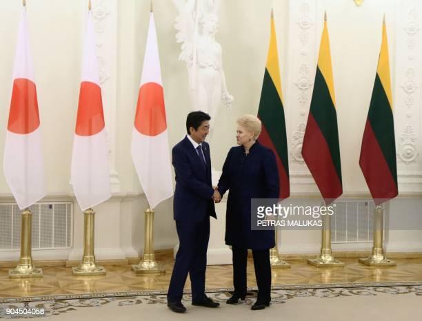 Lithuanian President Dalia Grybauskaite shake hands with Japanese Prime Minister Shinzo Abe ahead talks in Vilnius on January 13 2018 / AFP PHOTO /...
