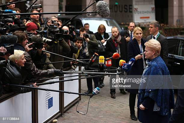 Lithuanian President Dalia Grybauskaite speaks to the media as she arrives at the Council of the European Union on February 18 2016 in Brussels...