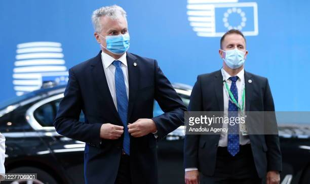 Lithuanian President Gitanas Nauseda arrives to attend the fourth day of an EU summit in Brussels Belgium on July 20 2020 Leaders of the EU member...