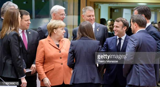 Lithuanian President Gitanas Nauseda is talking with the Belgium Prime Minister Sophie Wilmes the Estonian Prime Minister Juri Ratas the German...