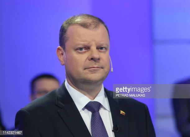 Lithuanian presidential candidate, Lithuania's Prime Minister Saulius Skvernelis, attends the televised live debate in Vilnius, Lithuania, on May 8,...