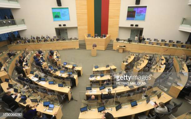 Lithuanian Prime Minister Ingrida Simonyte is pictured during her swearing-in ceremony at the parliament in Vilnius, Lithuania, on December 11, 2020....