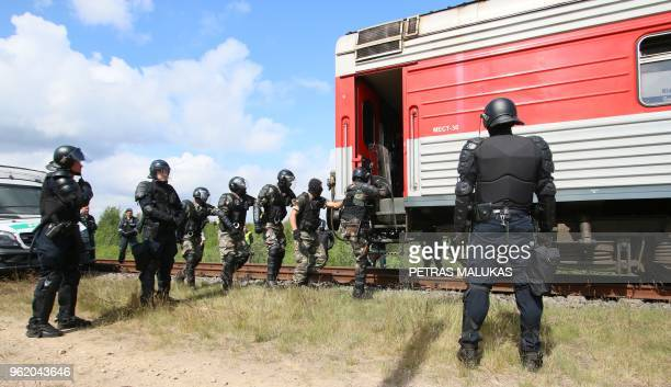 Lithuanian special forces take part in an exercice focused on securing the European Union's external border ahead of the World Cup football matches...