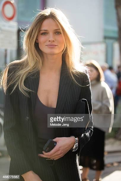 Lithuanian Supermodel Edita Vilkeviciute exits the Isabel Marant show at Palais de Tokyo musem on Day 4 of Paris Fashion Week Spring/Summer 2015 on...