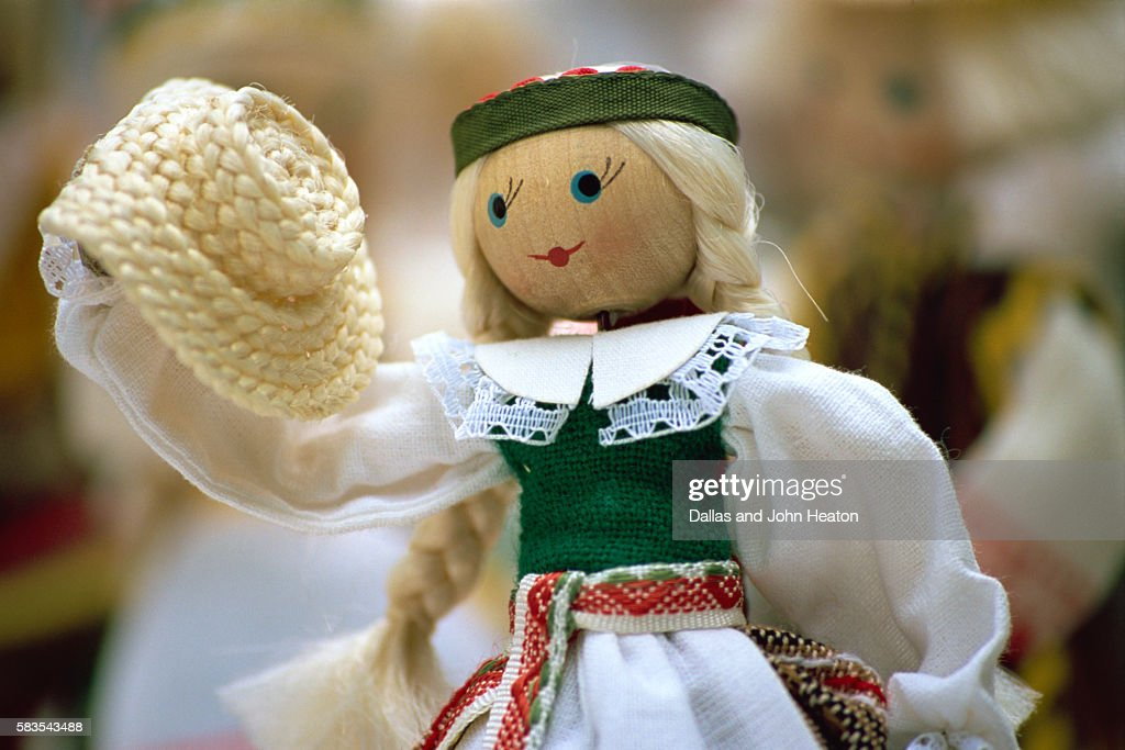 Lithuanian Traditional Folk Dolls, Old Town, Vilnius, Lithuania : Stock Photo