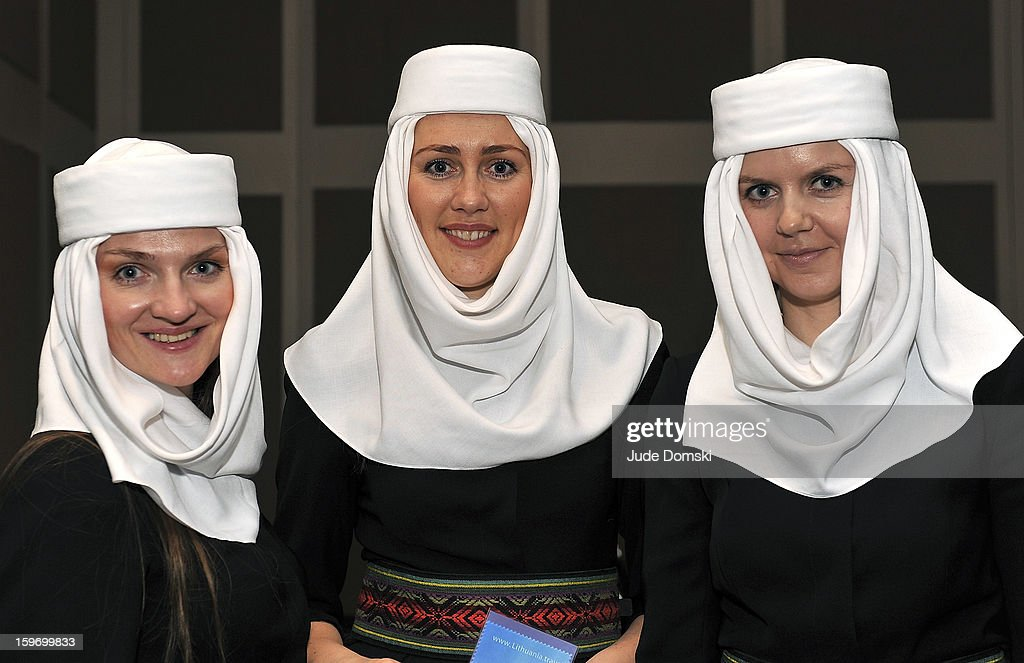 Lithuanian women wearing traditional headresses at The 10th Annual New York Times Travel Show Ribbon Cutting And Preview at Javits Center on January 18, 2013 in New York City.