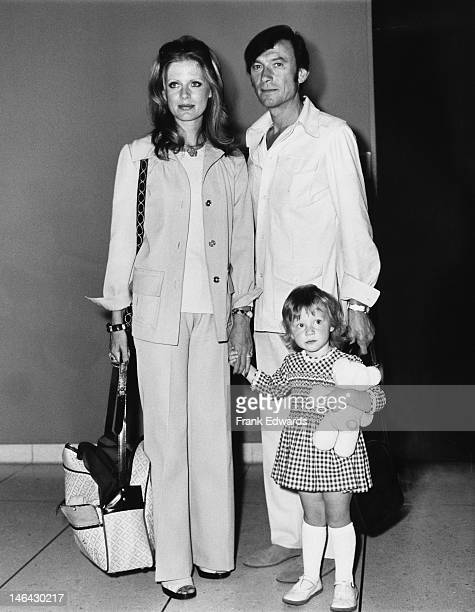 Lithuanianborn actor Laurence Harvey with his wife fashion model Paulene Stone and their daughter Domino Harvey at Los Angeles Airport en route to...