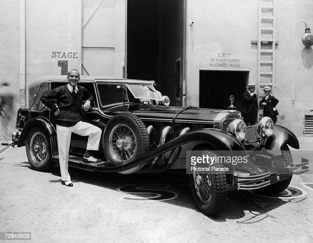 Lithuanianborn singer and actor Al Jolson on the Warner Brothers lot with his 1930 Mercedes 'S' Model C 1930