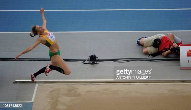 Lithuania's Austra Skujyte competes in the long jump of the women's heptathlon event at the International Association of Athletics Federations World...