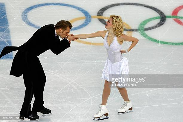 Lithuania's Deividas Stagniunas and Lithuania's Isabella Tobias perform in the Figure Skating Ice Dance Short Dance at the Iceberg Skating Palace...
